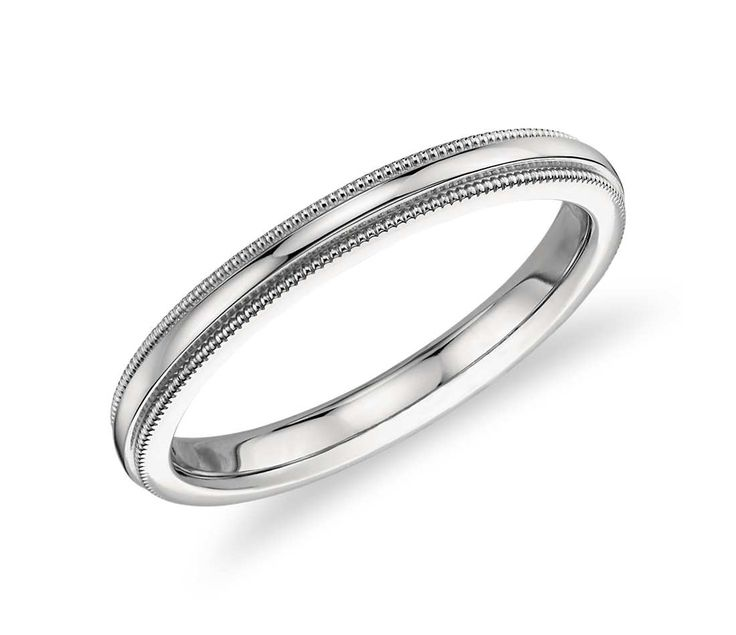 Beautiful Milgrain Comfort Fit Wedding Ring in Platinum mm