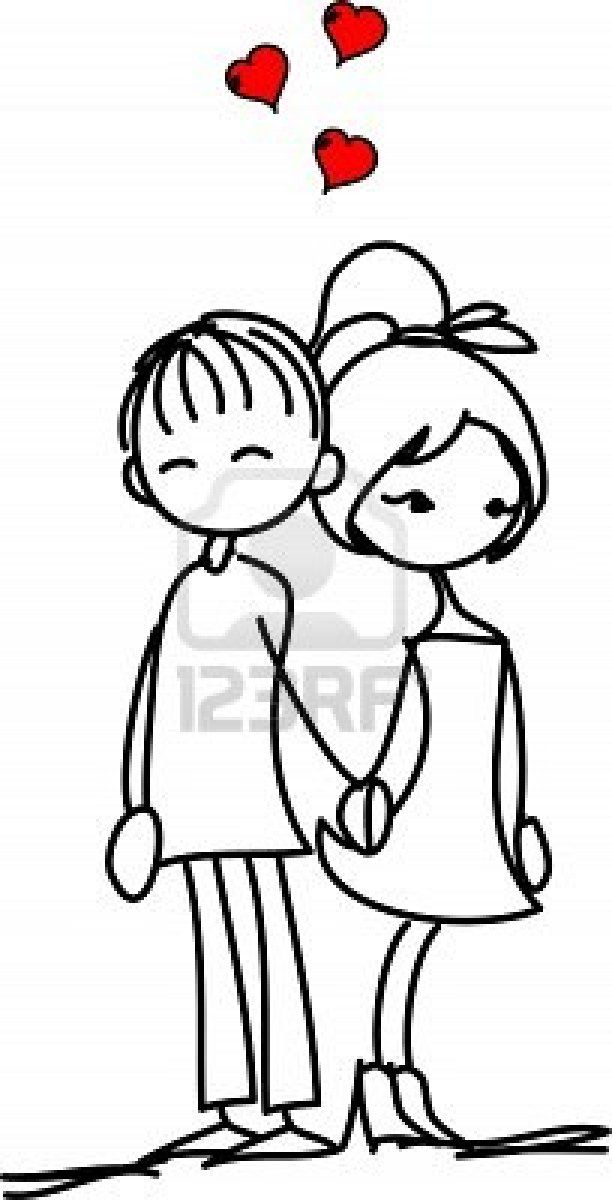 Valentine doodle boy and girl Stock Photo
