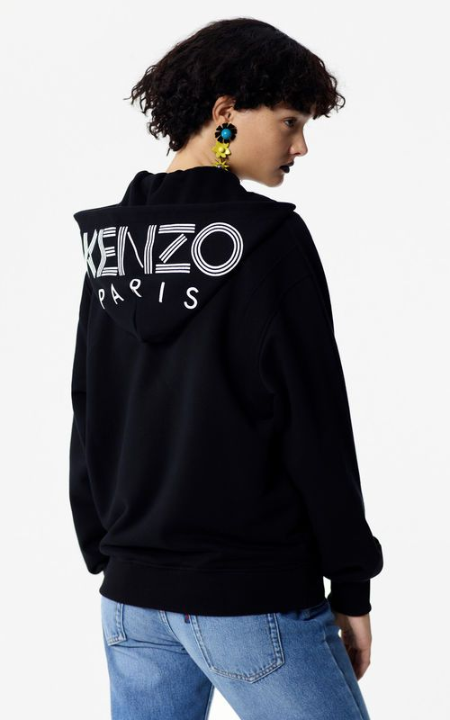 01460ae4 BLACK Hooded jacket with KENZO logo for women | kenzo | Women ...