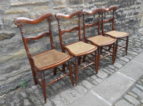 Set 4 Victorian Dining Chairs, Simulated Rosewood - Antiques Atlas