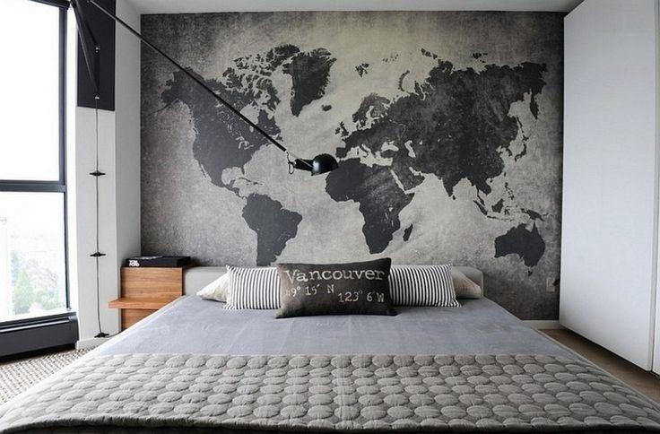 chambre style industriel avec décoration murale en carte mondiale simili béton brut