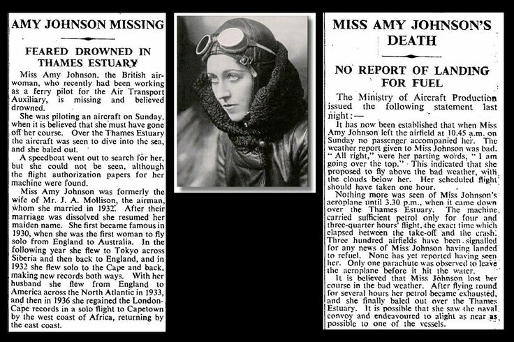 5th January 1941 - Death of Amy Johnson