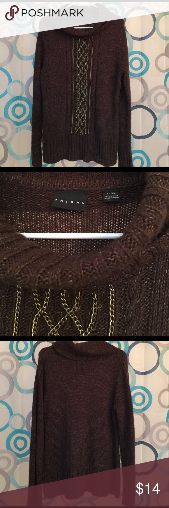 Tribal sweater nice brown real chain deco  XL Tribal sweater nice brown XL Tribal Sweaters