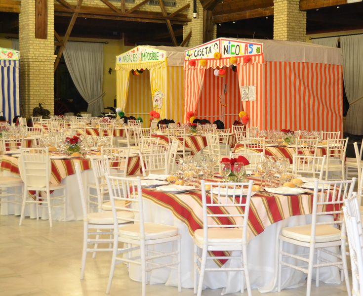 Dale un toque de feria a tu evento con casetas, mesas pintadas a mano y comida típica andaluza.  #Events #Feria #Decoration #Food