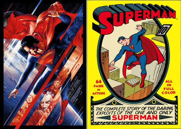 """Left: Martin Ansin's Mondo poster for """"Man of Steel."""" Right: Joe Shuster's cover for the first """"Superman"""" comic, published in 1939. (Mondo)"""