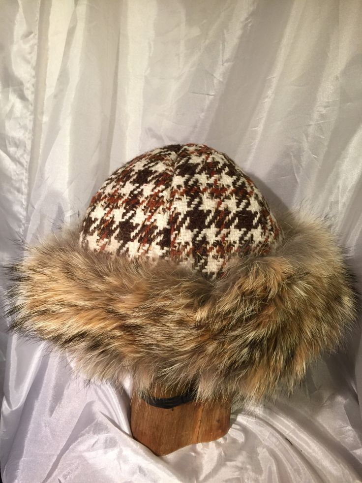 Beautiful Mongolian, Russian, Norse coyote fur hat hand woven wool top by Micheleshats on Etsy