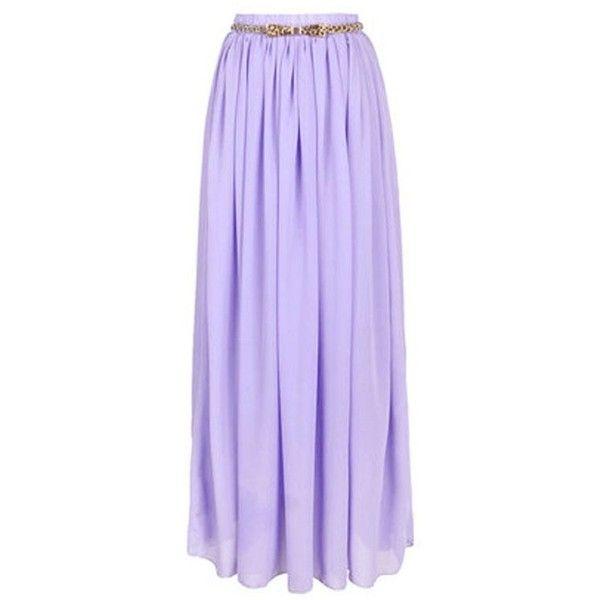 Light Purple Chiffon Maxi Skirt ($33) ❤ liked on Polyvore featuring skirts, bottoms, maxi skirts, long skirts, light purple maxi skirt, long purple skirt, floor length skirts and lavender chiffon maxi skirt