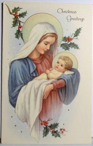 """Vintage """"Christmas Greetings"""" card with Mary and Jesus."""
