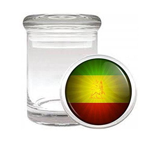 "Medical Glass Stash Jar Rasta S3 Air Tight Lid 3"" x 2"" Small Storage Herb & Spices Reggae Lion Jamaican Colors 420 Leaf"