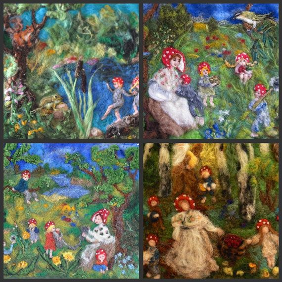 Children of the forest. Pictures for children, 4 post cards with prints of my original needle felted tapestries Waldorf education, by dariel vovsky - maybe they're elves