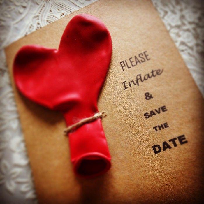 Mijn variant van een save the date kaart! Simpel te maken met craftpapier, hartjesballon, strotouw en zelf printen :-)