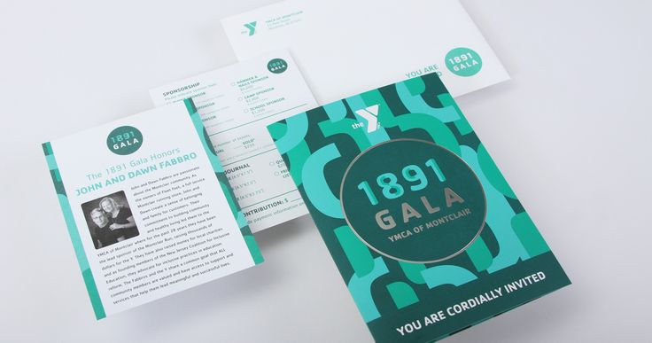 Gala event branding system for the YMCA of Montclair, including graphic design for gala invitation design, gala save the date and gala signage.
