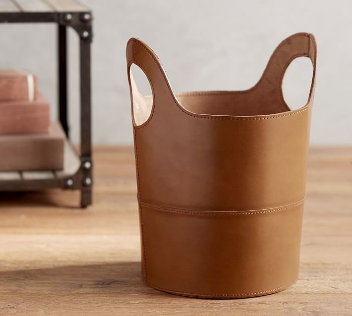 Hayes Cognac Leather Trash Can