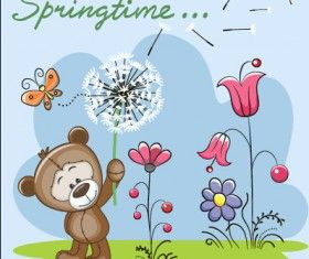Spring lovely animal cartoon vector 03