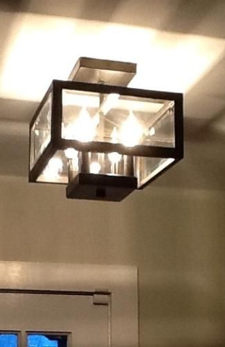 Hampton Bay 4-Light Oxide Brass Semi-Flushmount Light with Tallarook Panel Glass Shade EC3788OBP at The Home Depot - Mobile