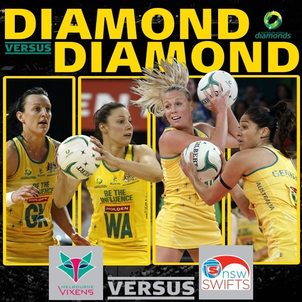Rd 12 Diamond v Diamond match-up was a cracker! Bianca Chatfield & Madi Browne representing the Vixens versus Kim Green & Mo'onia Gerrard representing the NSW Swifts.