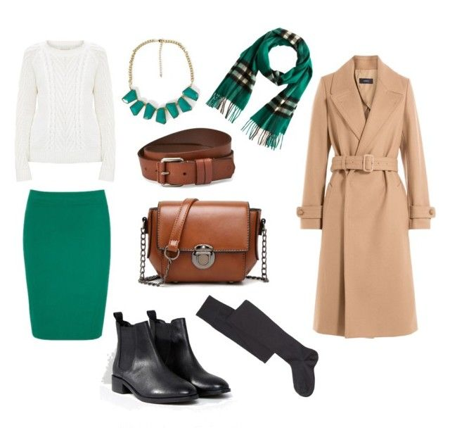 White knit jumper, turquoise midi pencil skirt, beige wool coat, chelsea boots