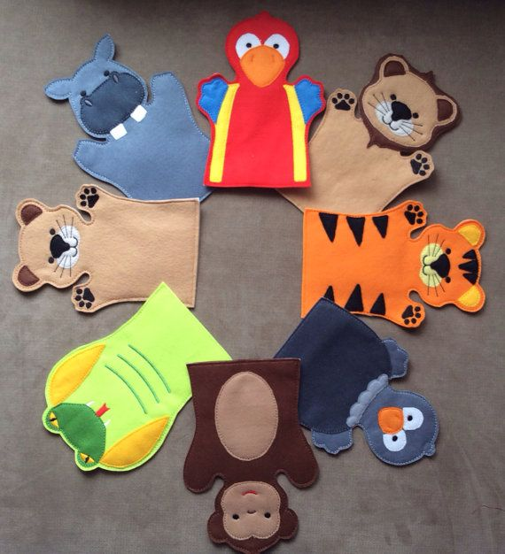 Jungle Animals  Full Hand Puppet Set  Adult OR by ThatsSewPersonal