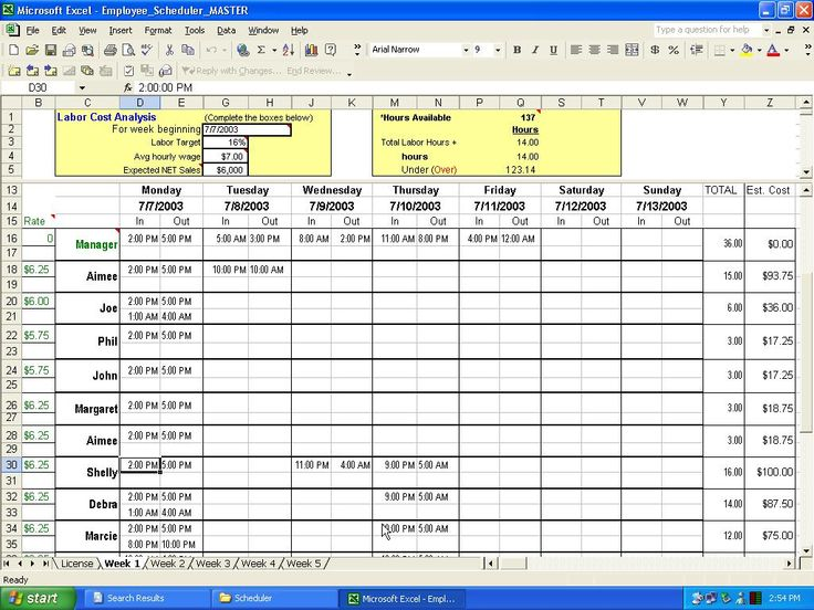 excel crewing schedule | Employee Scheduler For Excel And Openoffice Business Spreadsheets with ...