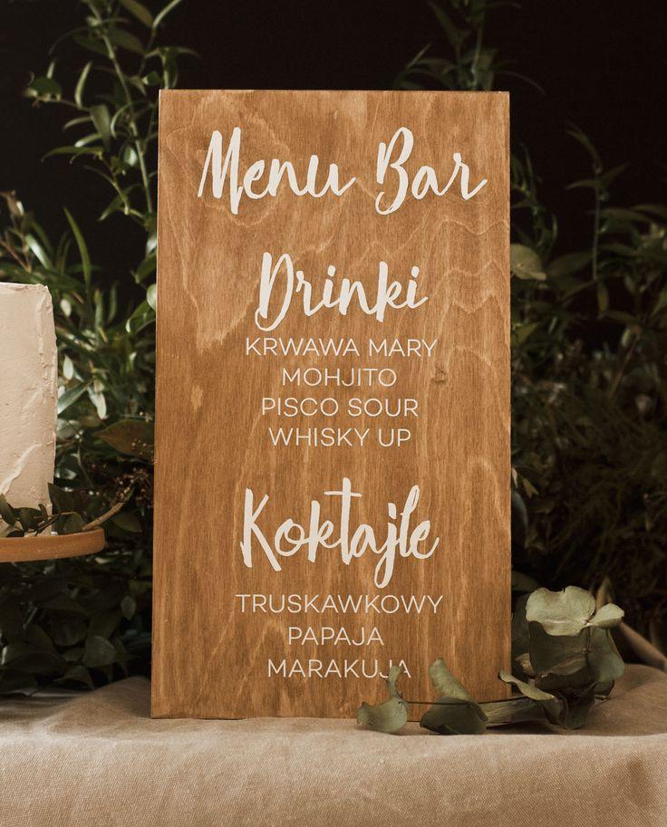 Drewniane menuidealne na ślub lub imprezę. Wykonane na drewnianej bejcowanej sklejce. Spersonalizowane pozycje menu.