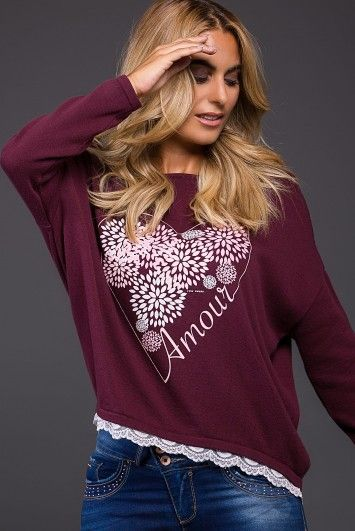 Knit Sweater with Lace Trim
