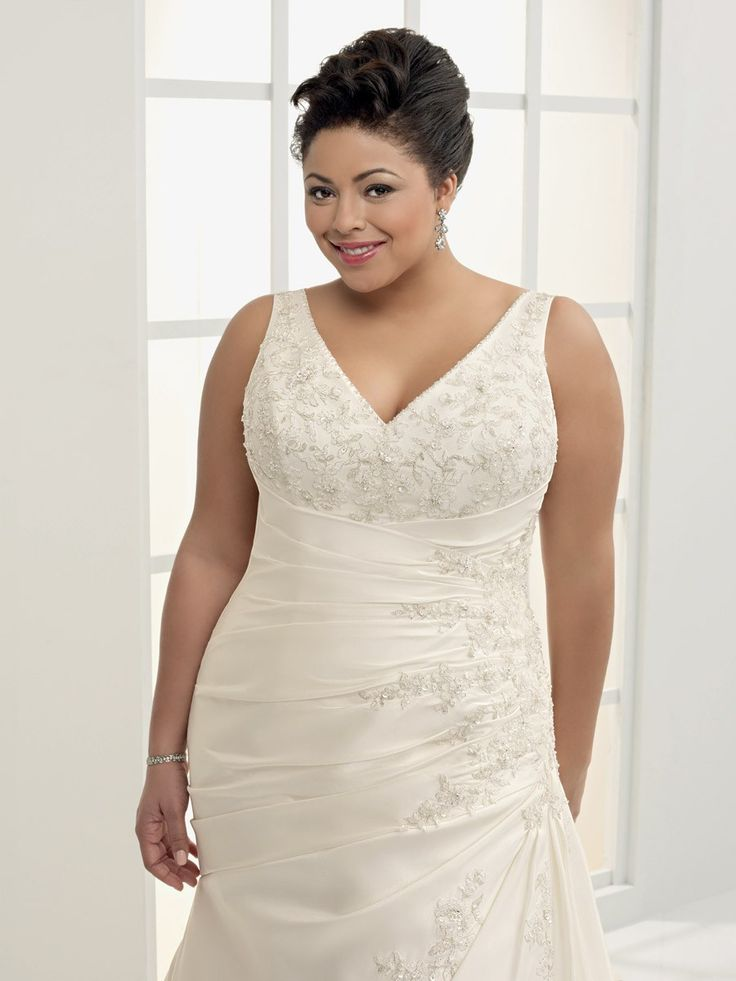 Plus size wedding dresses with color cheapest stylish for Plus size wedding dresses with straps