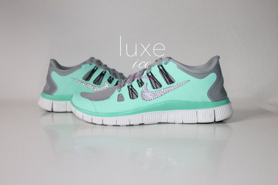 NIKE run free 5.0 running shoes w/Swarovski Crystals detail - Mint Tiffany blue - limited