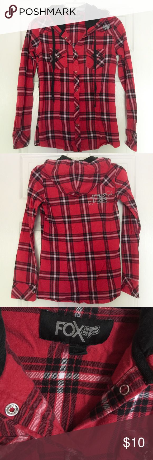 [Fox] Red & Black Flannel Shirt - S Comfortable red and black button-up flannel shirt with hood. Fox Tops Button Down Shirts