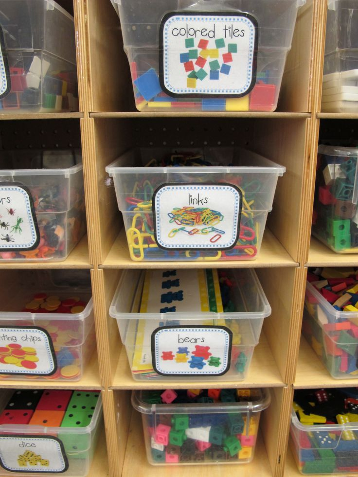 Classroom Store Ideas : Same size clear tubs with large printed labels on shelves