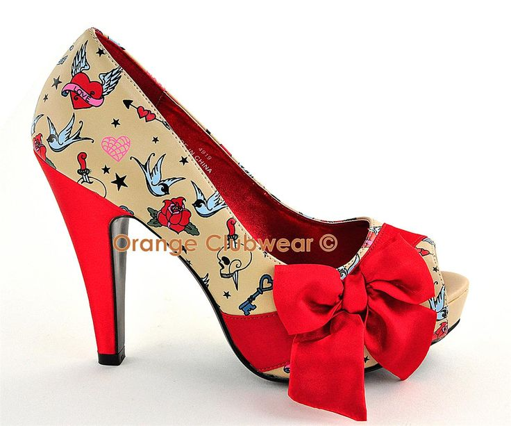 PINUP Rockabilly Tattoo Print Cream High Heels Shoes