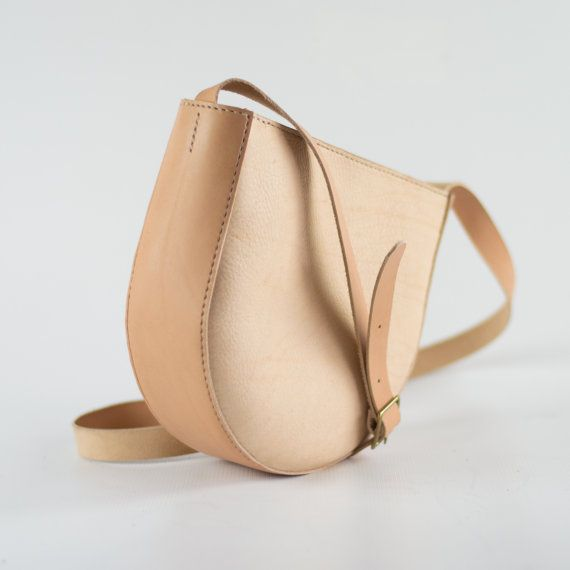Natural Leather Shoulder Bag Slouchy Crossbody Bag by CrowSLC