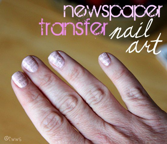 Newspaper Transfer Nail Art