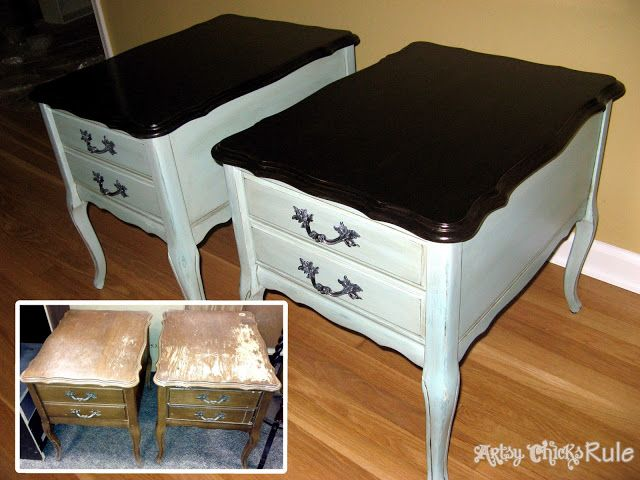 Thrift store end tables...transformed with paint and stain!! #diy #paint #endtables- artsychicksrule.com