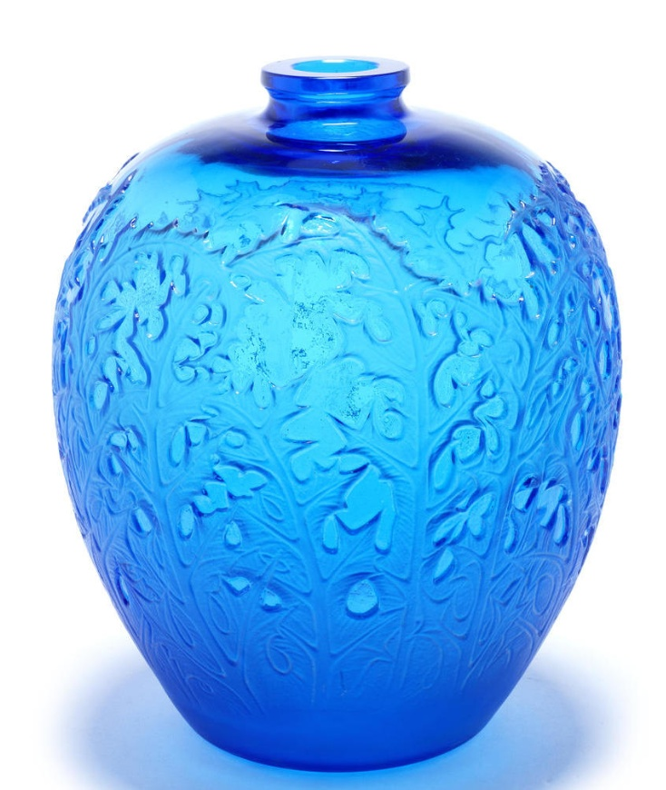 René Lalique  'Acanthes' a Vase, design 1921  electric blue glass, frosted and polished  27.8cm high, etched 'R. Lalique'