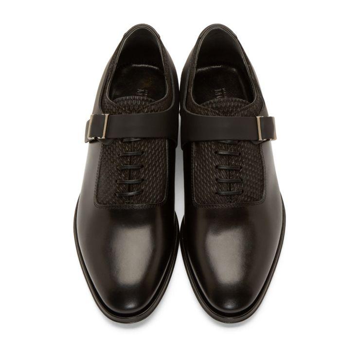 Alexander McQueen Black Leather Monkstrap Oxfords