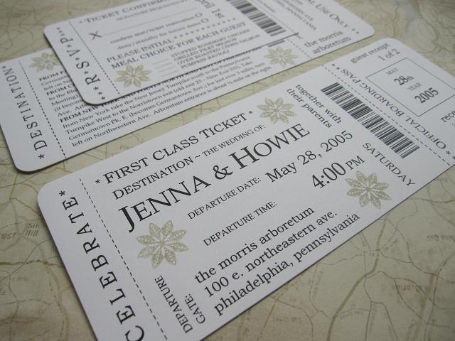 Boarding P Wedding Invitation Package First Cl Ticket Rsvp Card Destination