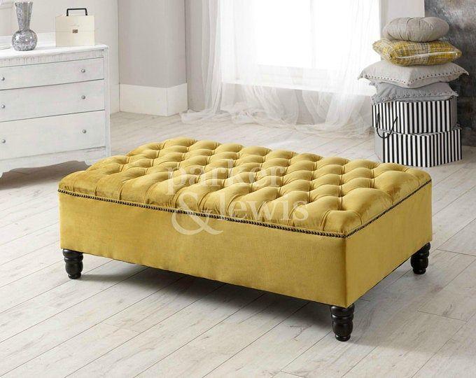 X Large Lift Lid Deep Buttoned Mustard Plush Velvet Bench