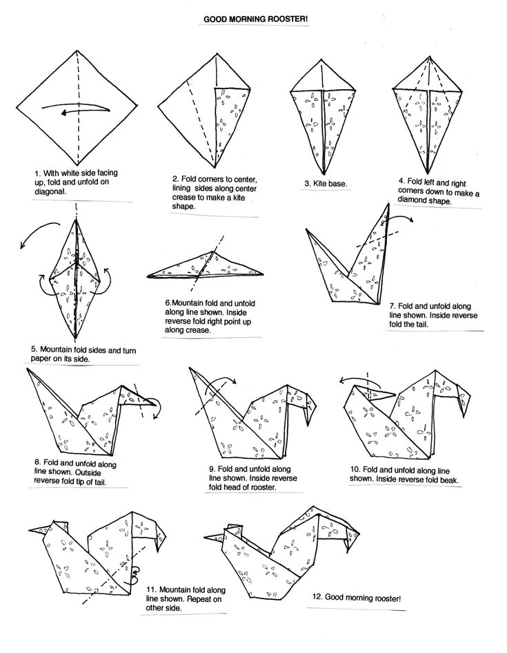 origami rooster instructions - Google Search