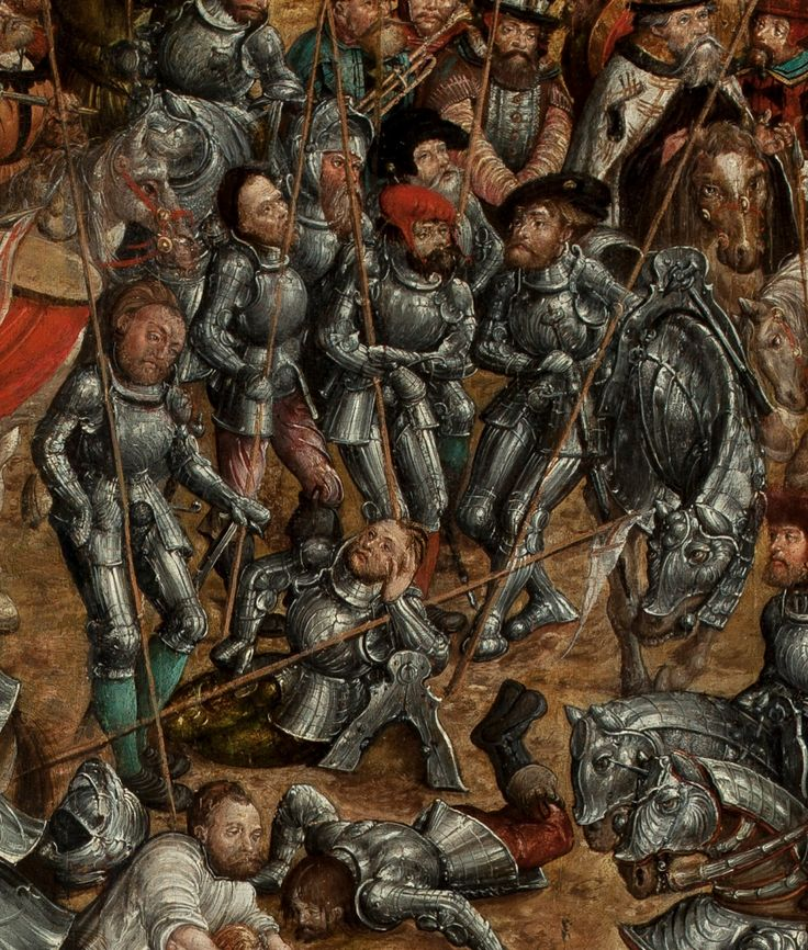 Artist: attributed to Krell, Hans, Title: The Battle of Orsha, Detail: Seven knights and a warhorse, Date: 1525–1535