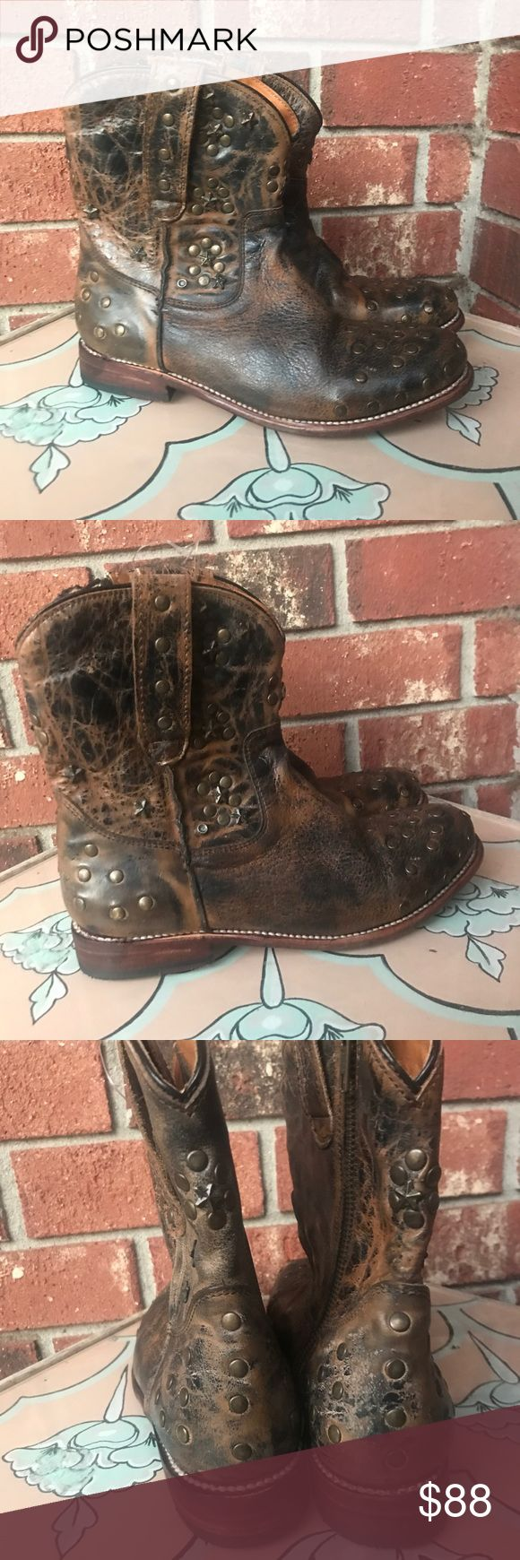 BED STU Studded Short Cowboy Boots New without box, leather. Bed Stu Shoes Ankle Boots & Booties