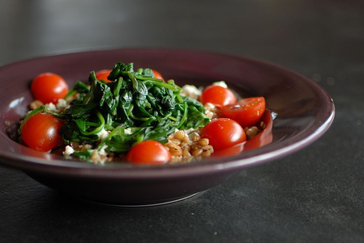 Goat Cheese, Spinach, Tomato and Bluebird Grain Farro salad.   clean,healthy, quick, and delish!  photo credit; http:www.weymullerphotography  recipe: http:www.caramelzlife.com