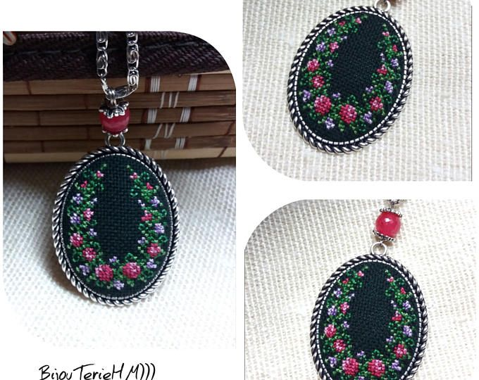 Cross stitch necklace. Cross stitch pendant. Embroidered pendant