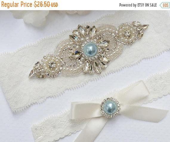 Rhinestone /& Pearl Bridal Garter Set Something Blue Bridal Garter Belt Vintage Style Bridal Garter with Blue Pearl Wedding Garter Blue