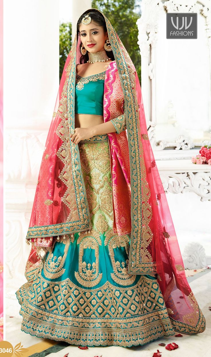Shivangi Joshi Impressive Turquoise Designer Lehenga Choli Fashion and trend will be at the peak of your beauty when you dresses this turquoise color satin designer lehenga choli. Beautified with embroidered, patch border, resham work all synchronized very well with all the pattern and style and design of the dress.