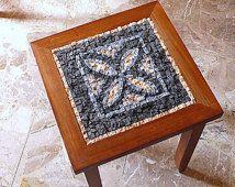 mozaïek tafel / rustieke chique mozaïek / meubels / bruin zwart, blauw, crème / home meubilair / rustieke meubels / koffie tafel / home wonen