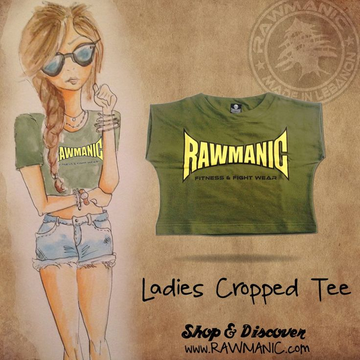 Ladie's cropped tee NOW available in Military Green, Blue, Red and White.  Shop & Discover more at www.RAWMANIC.com