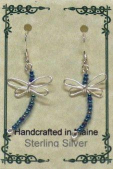 Sterling Silver Wire Dragonfly Earrings