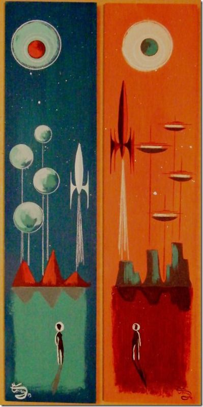El Gato Gomez Painting Mid Century Modern Retro Futurism. Rocket Ships and Architecture.