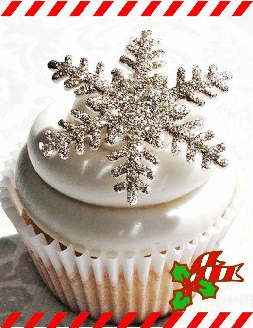 christmas snowflake cupcakes, DIY snowflake cupcakes for 2013 christmas party