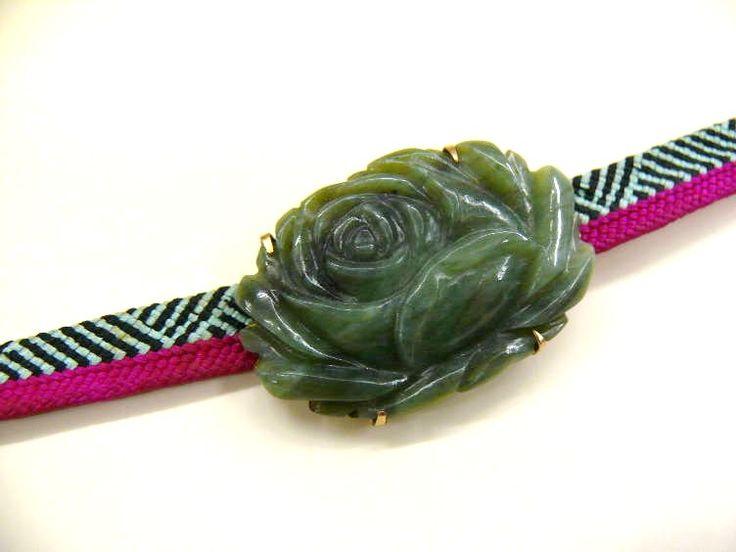 "MEIJI Antique Jade ""Obi-Dome"" with Large Rose Motif and ""Sanbu-himo (Thin Obi-jime String)"